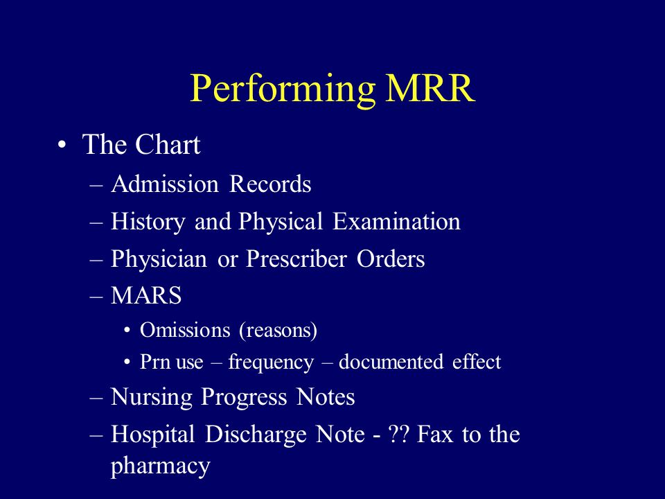 Performing MRR The Chart Admission Records