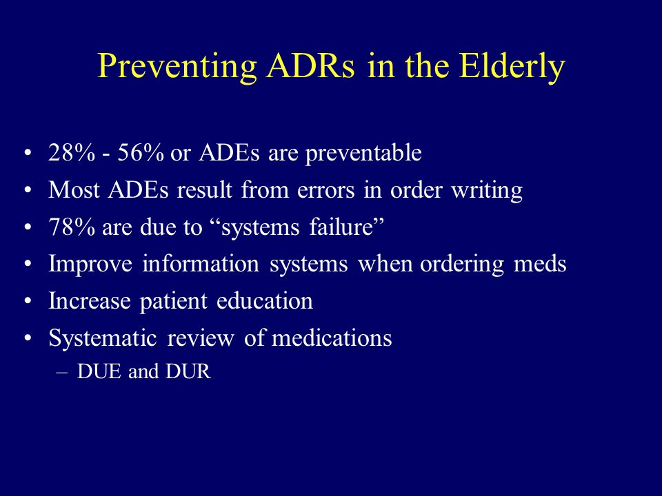 Preventing ADRs in the Elderly