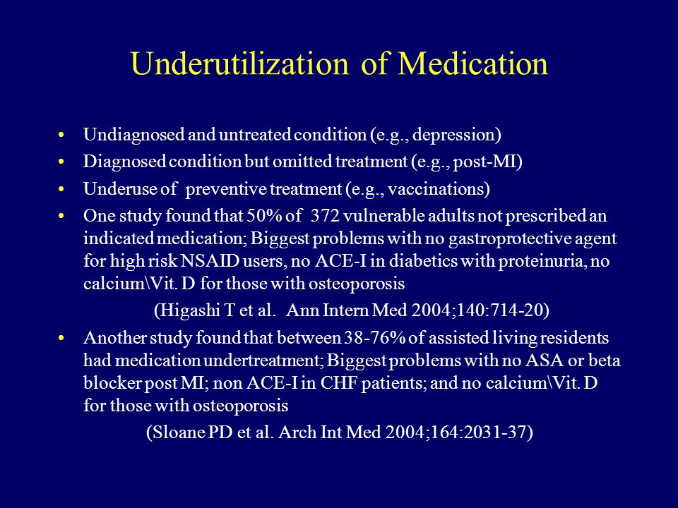 Underutilization of Medication