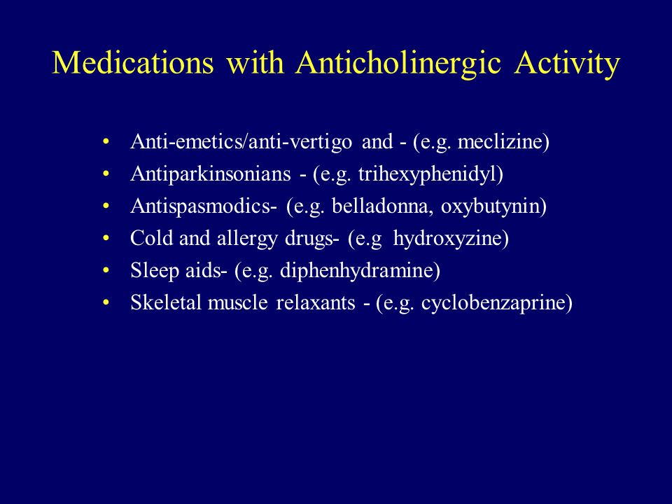 Medications with Anticholinergic Activity