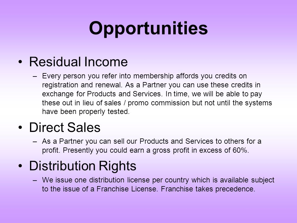 Opportunities Residual Income Direct Sales Distribution Rights