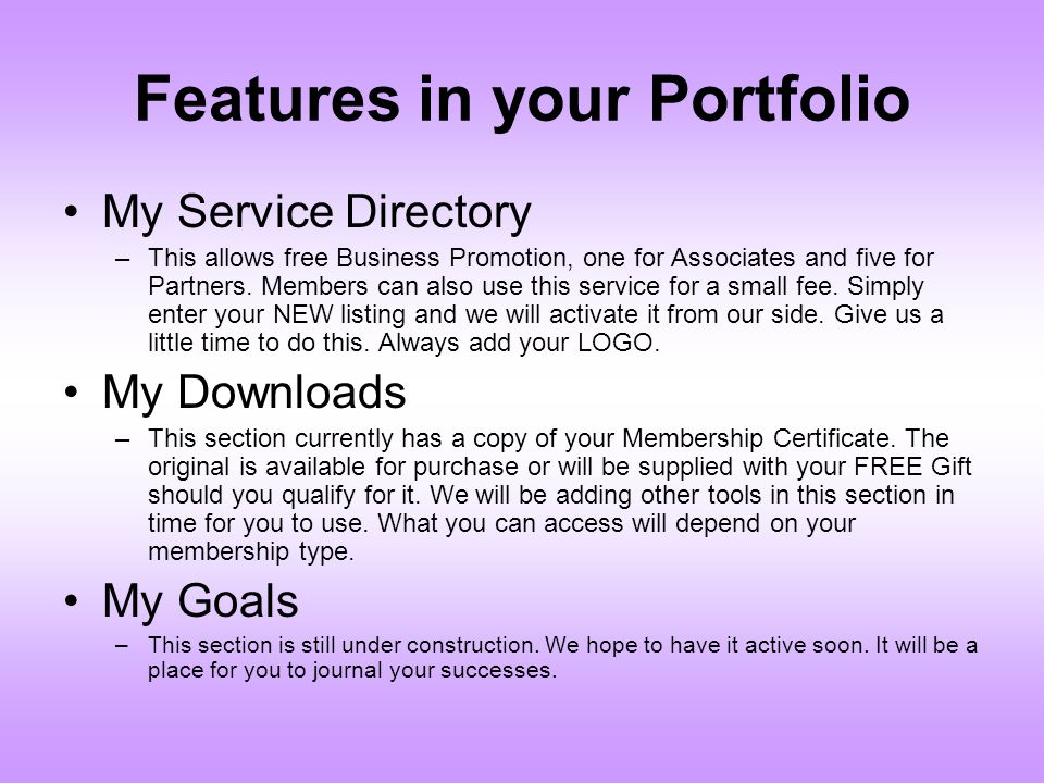Features in your Portfolio
