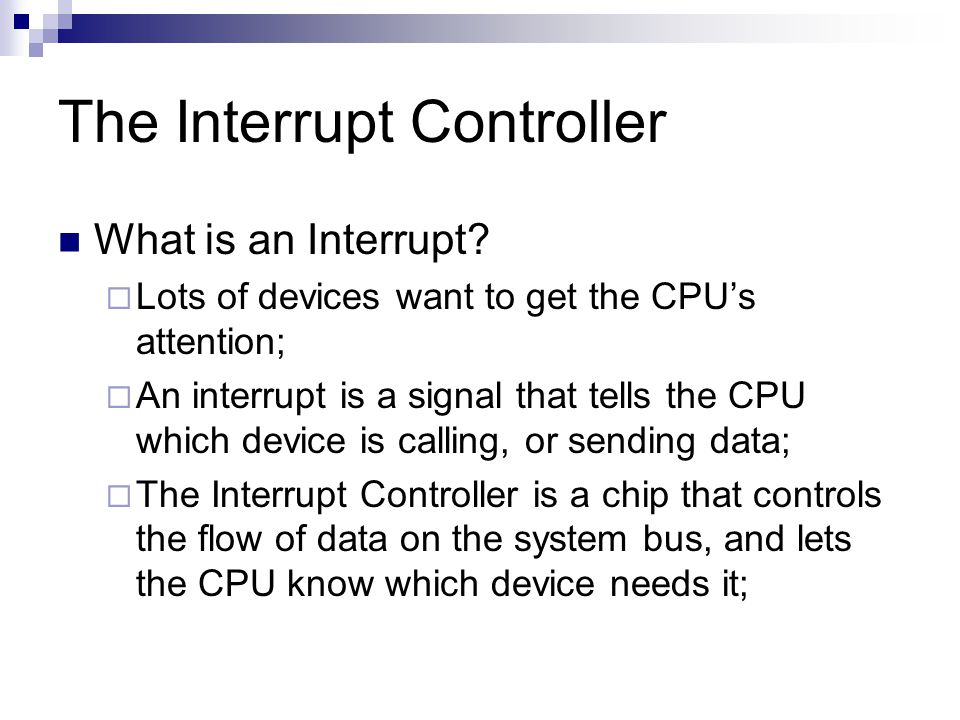 The Interrupt Controller