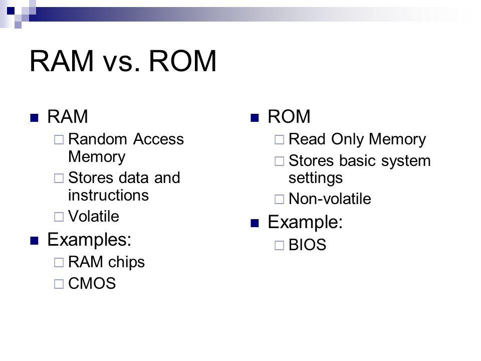 RAM vs. ROM RAM Examples: ROM Example: Random Access Memory