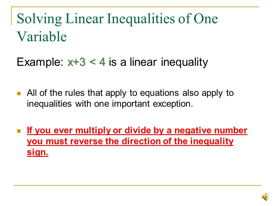 Solving Linear Inequalities of One Variable