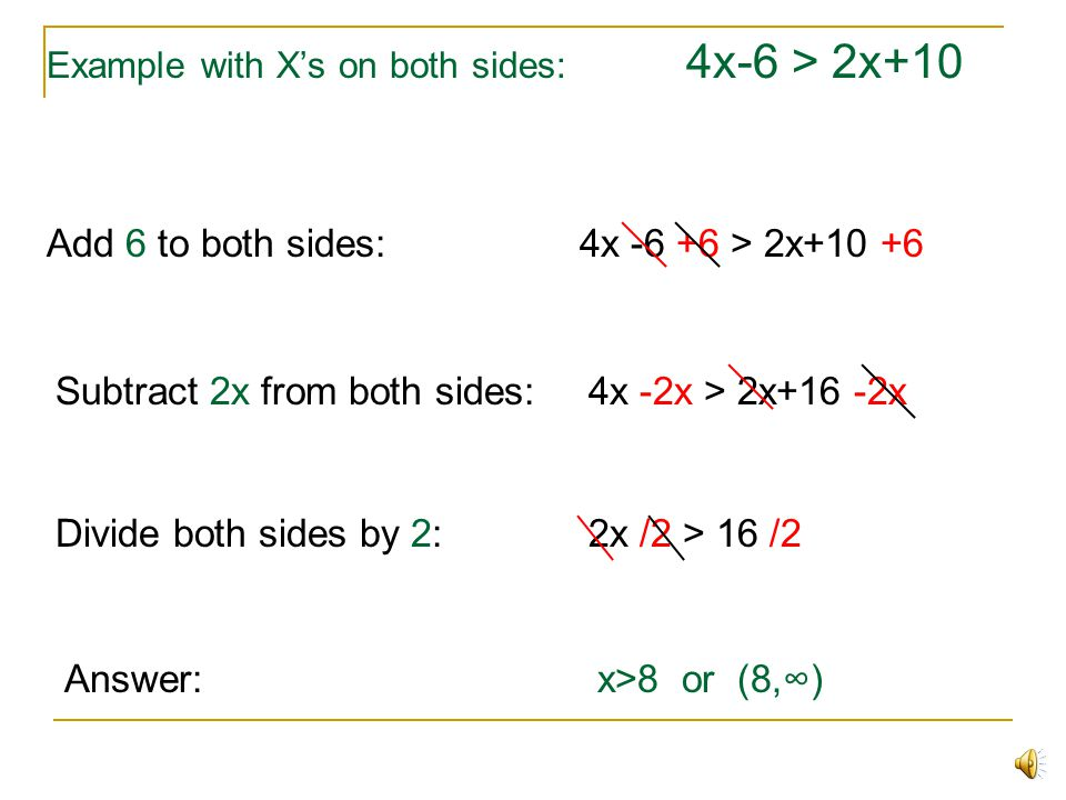 Example with X's on both sides: 4x-6 > 2x+10