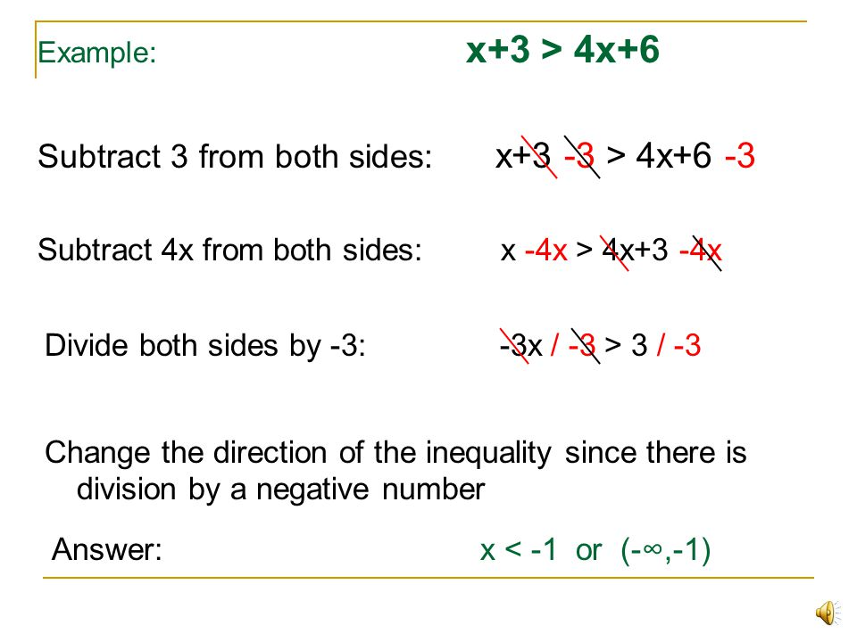 Subtract 3 from both sides: x+3 -3 > 4x+6 -3