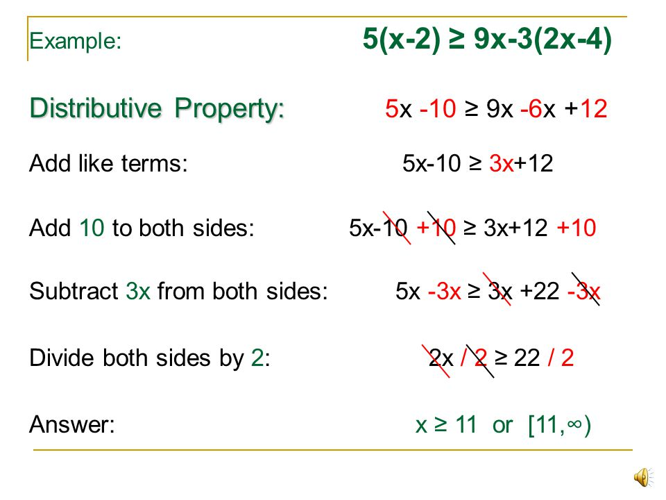 Distributive Property: 5x -10 ≥ 9x -6x +12