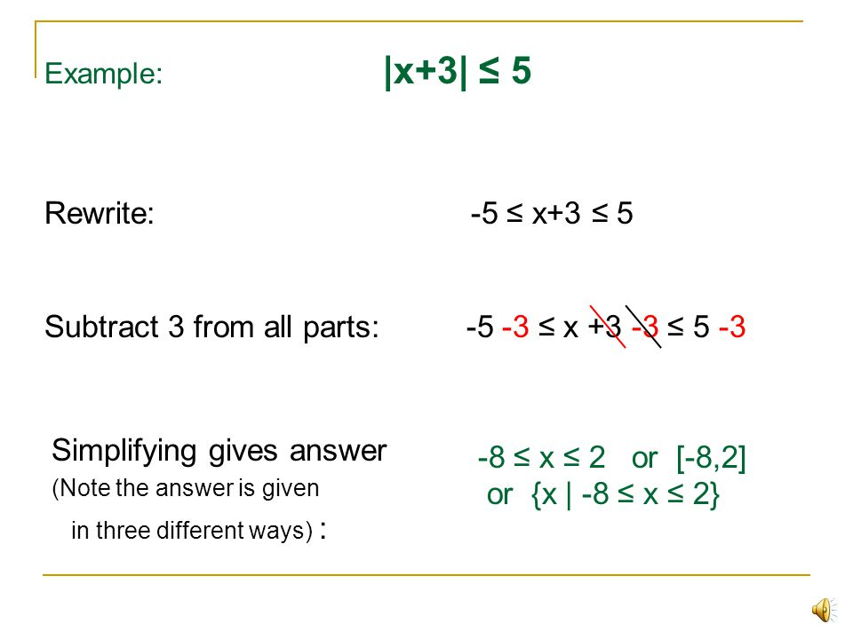 Subtract 3 from all parts: -5 -3 ≤ x +3 -3 ≤ 5 -3