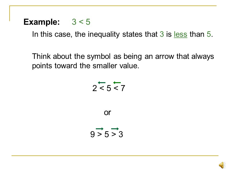 In this case, the inequality states that 3 is less than 5.