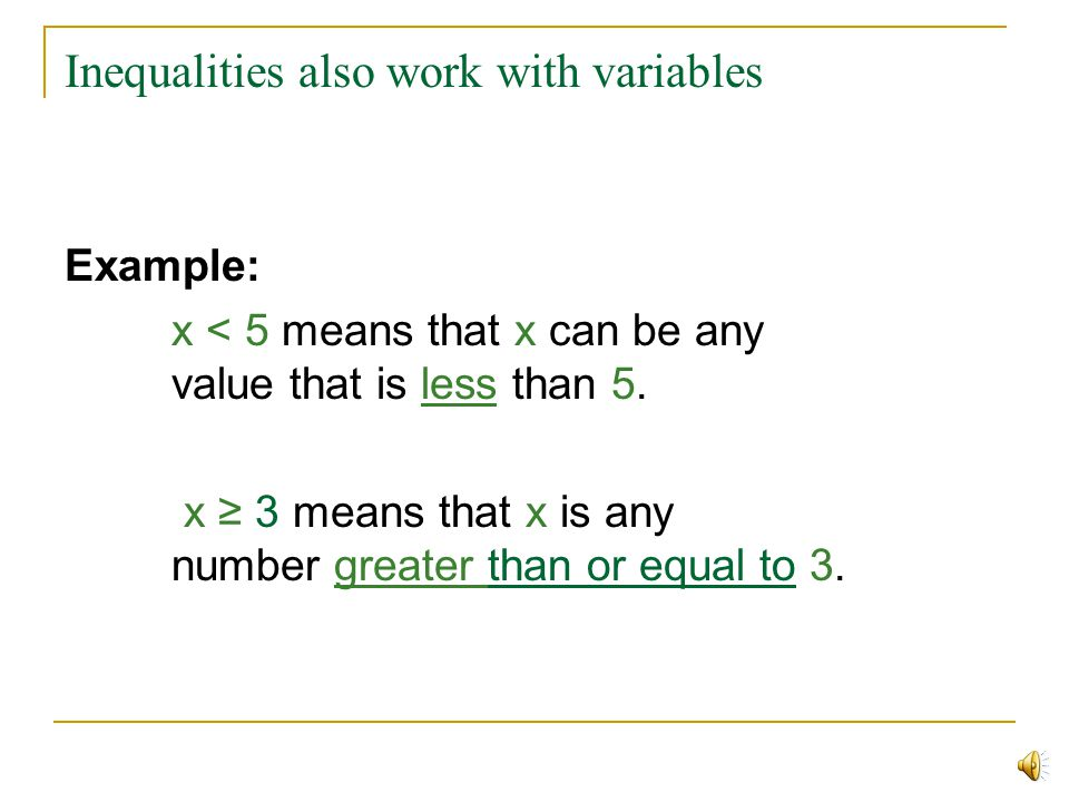 Inequalities also work with variables