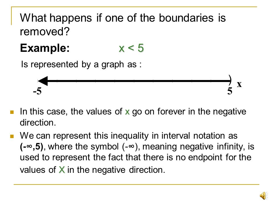 What happens if one of the boundaries is removed Example: x < 5