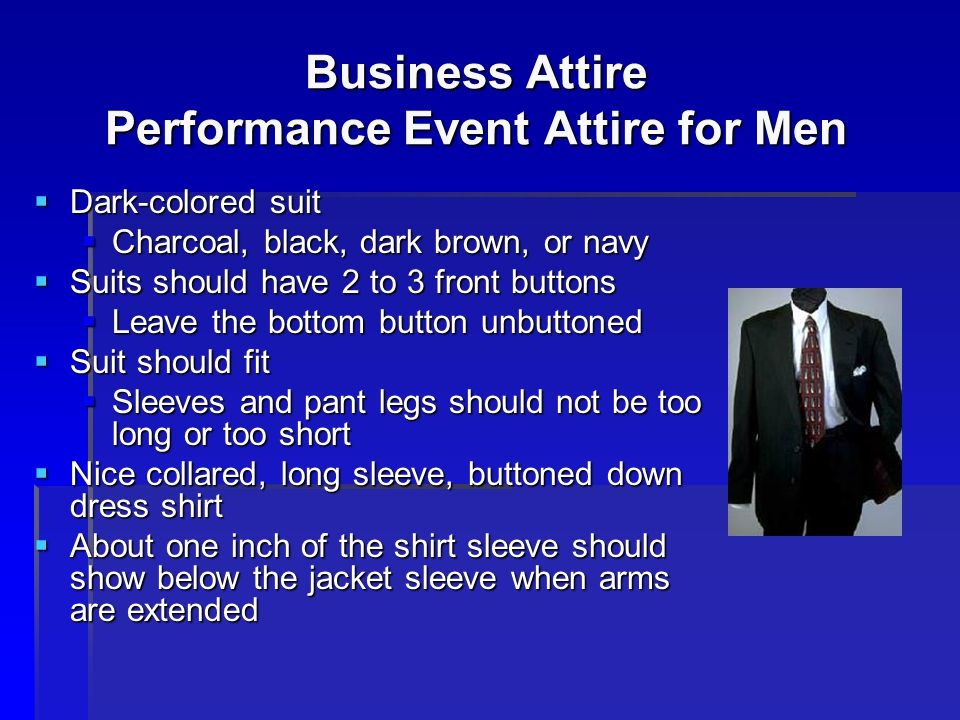 Business Attire Performance Event Attire for Men