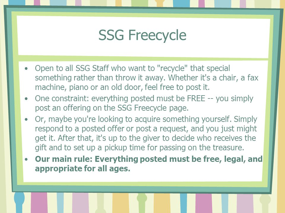 SSG Freecycle