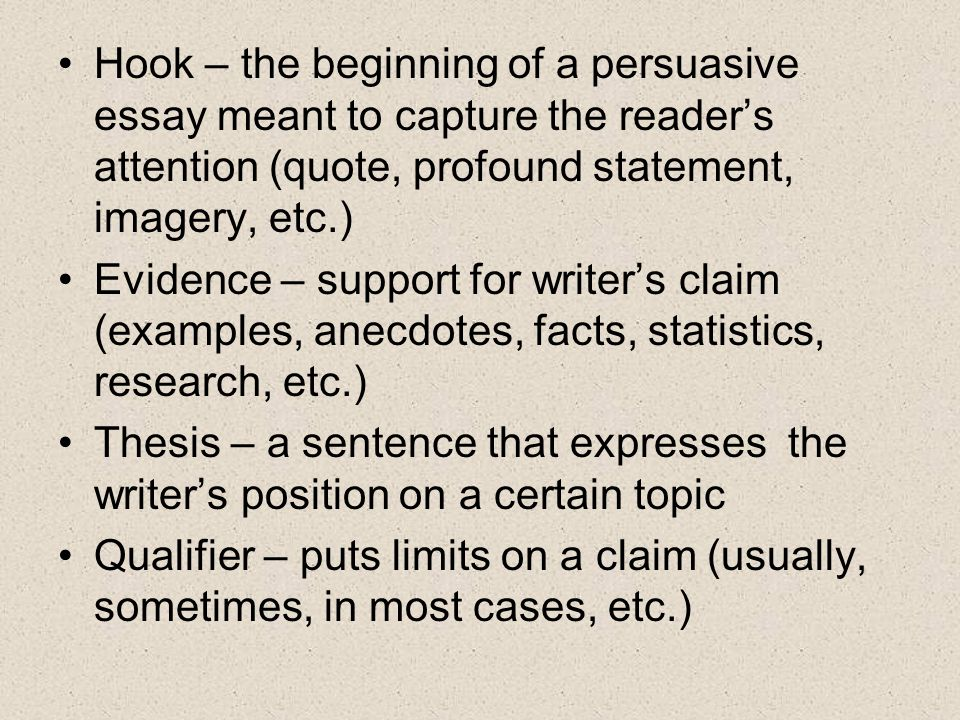 Hook – the beginning of a persuasive essay meant to capture the reader's attention (quote, profound statement, imagery, etc.)