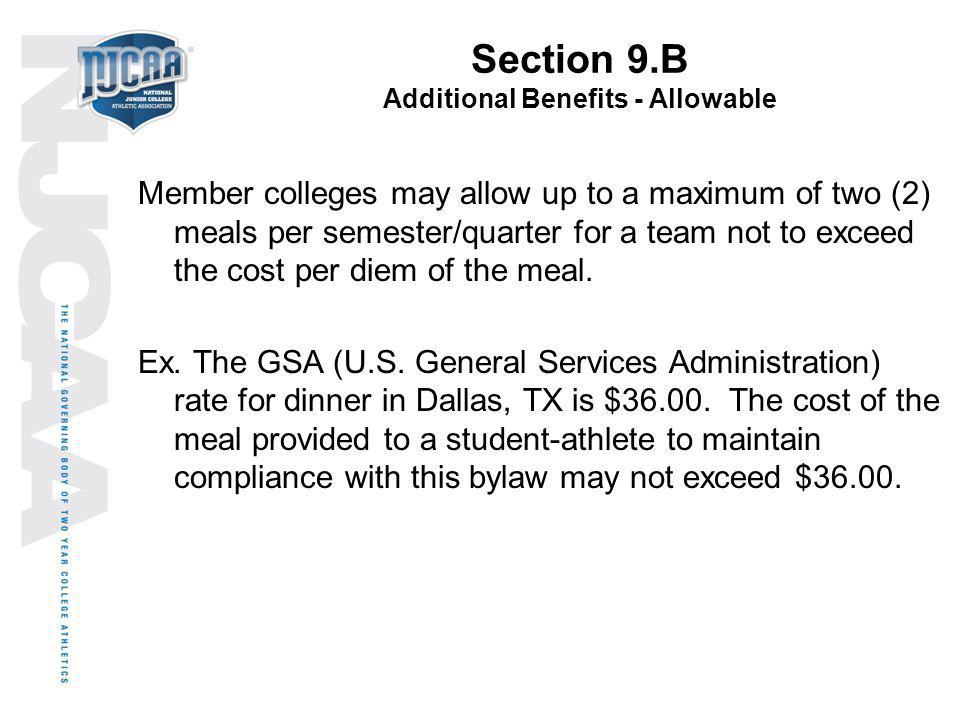 Section 9.B Additional Benefits - Allowable