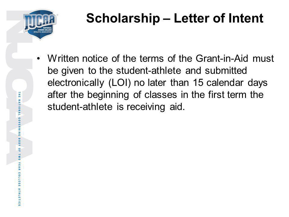 Scholarship – Letter of Intent