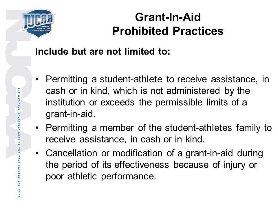 Grant-In-Aid Prohibited Practices