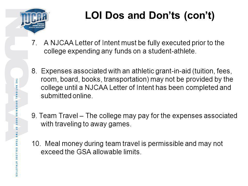 LOI Dos and Don'ts (con't)