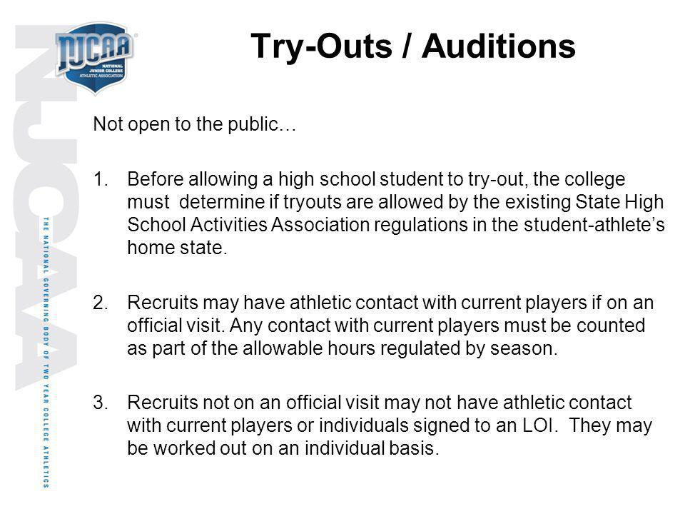 Try-Outs / Auditions Not open to the public…