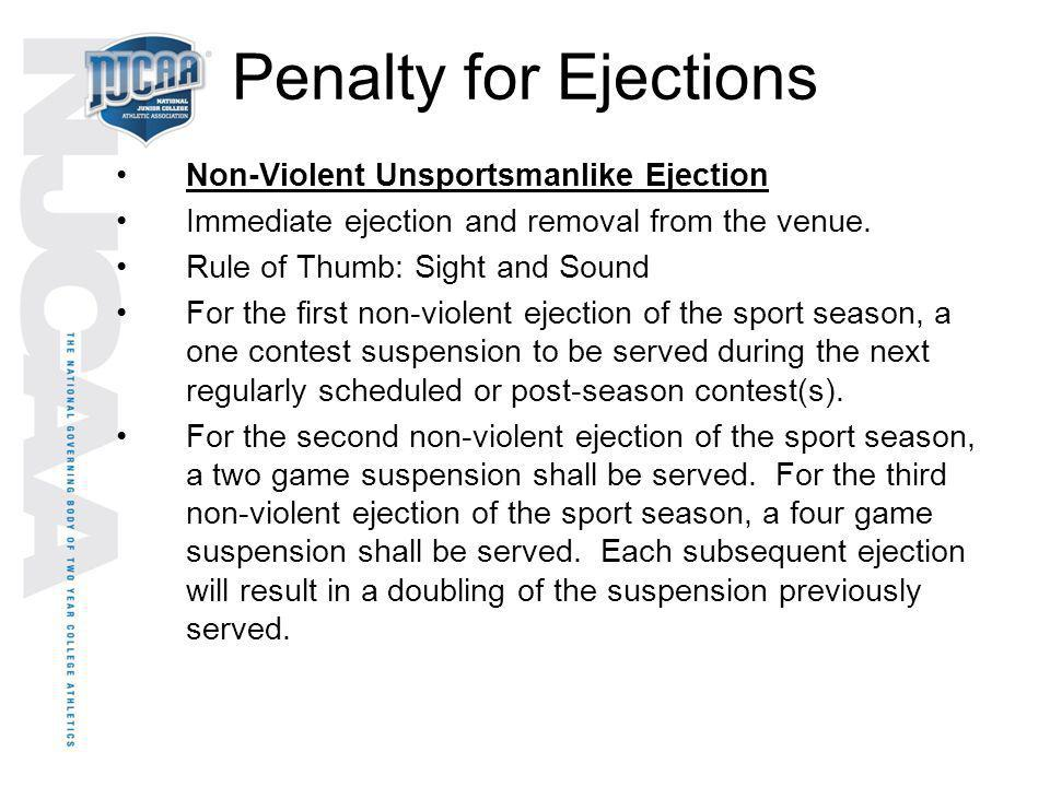 Penalty for Ejections Non-Violent Unsportsmanlike Ejection