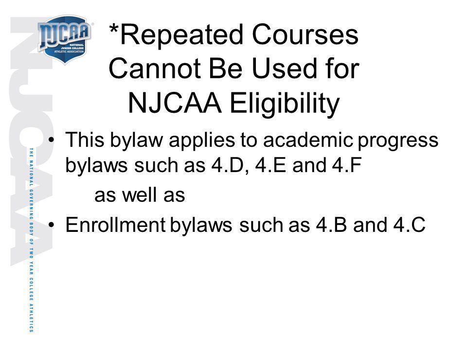 *Repeated Courses Cannot Be Used for NJCAA Eligibility