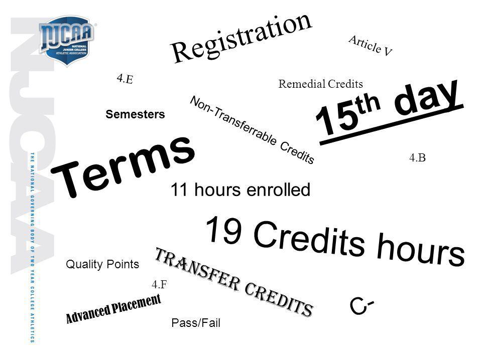 Terms 15th day 19 Credits hours Registration C- 11 hours enrolled