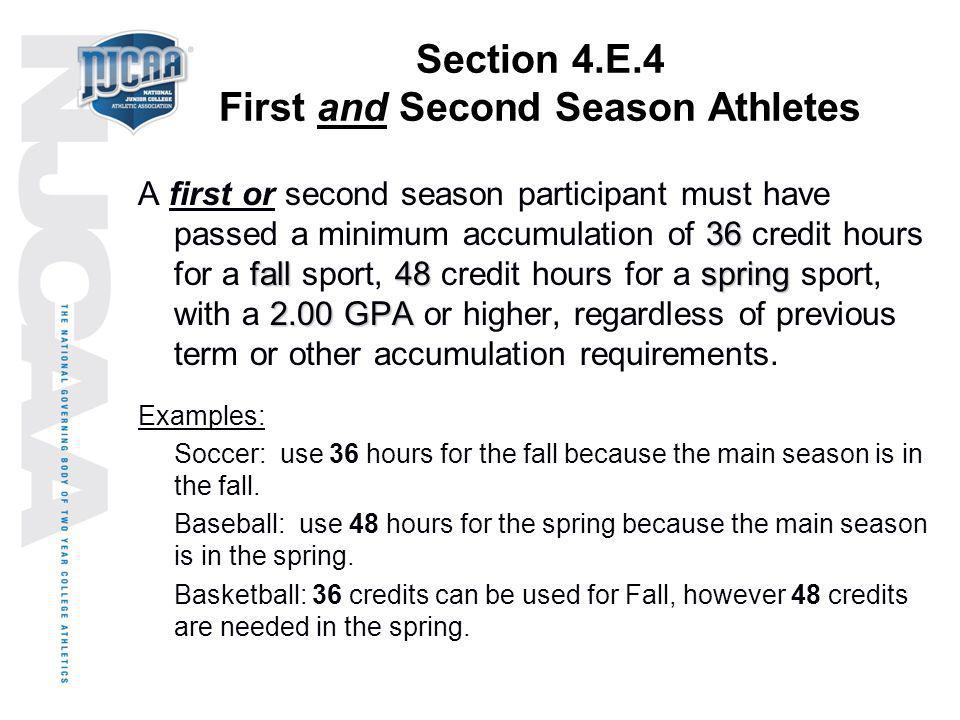 Section 4.E.4 First and Second Season Athletes
