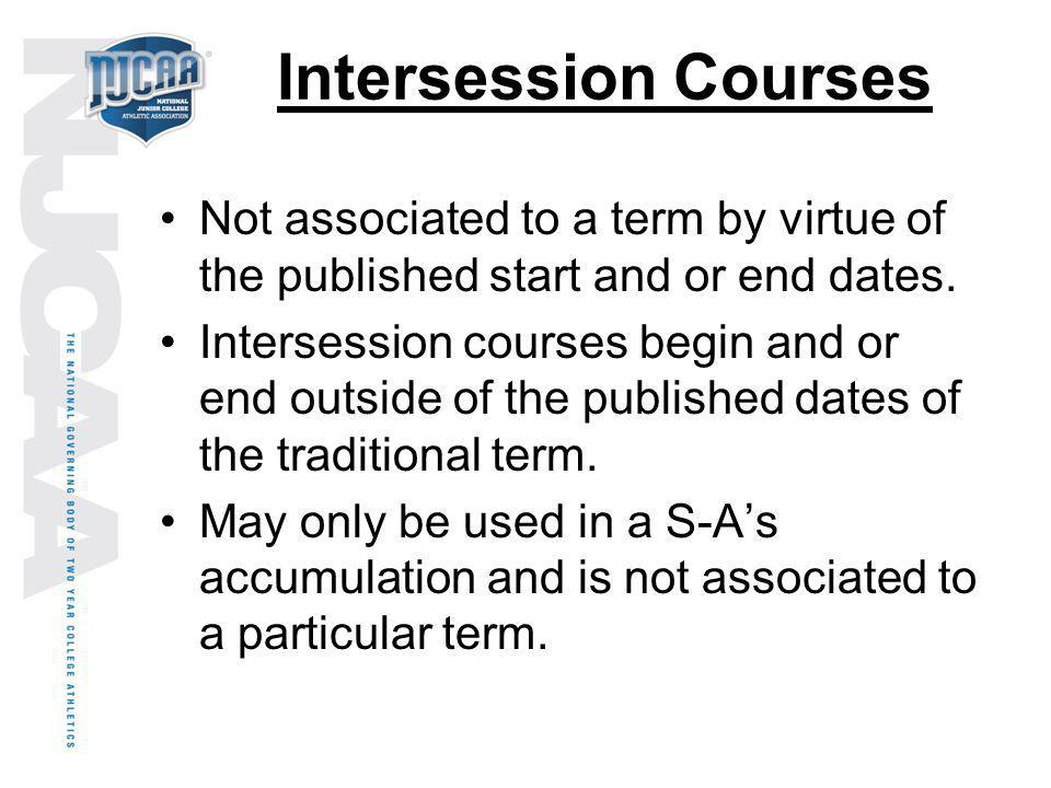 Intersession Courses Not associated to a term by virtue of the published start and or end dates.
