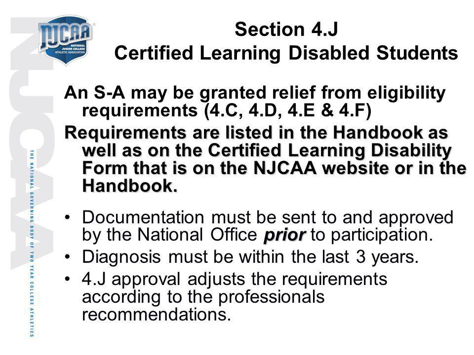 Section 4.J Certified Learning Disabled Students