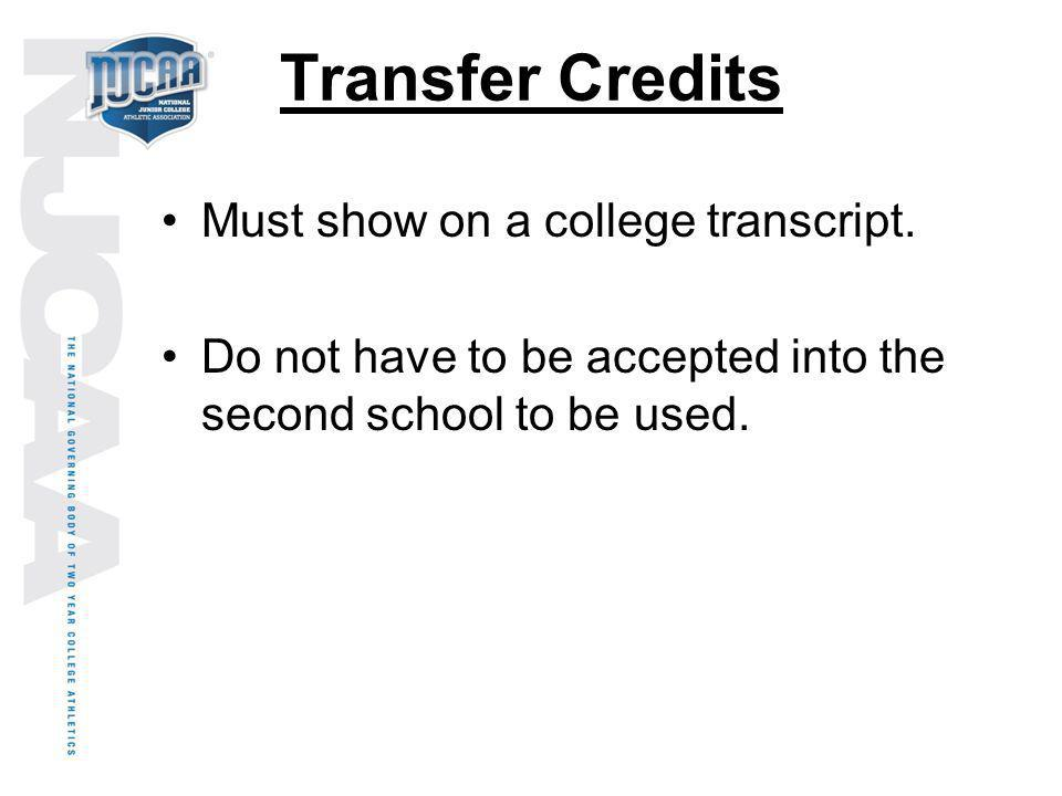 Transfer Credits Must show on a college transcript.
