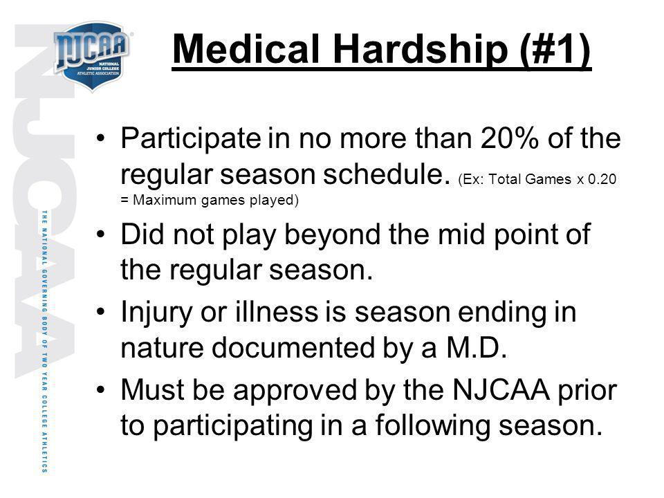 Medical Hardship (#1) Participate in no more than 20% of the regular season schedule. (Ex: Total Games x 0.20 = Maximum games played)
