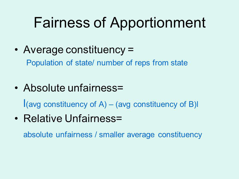 Fairness of Apportionment