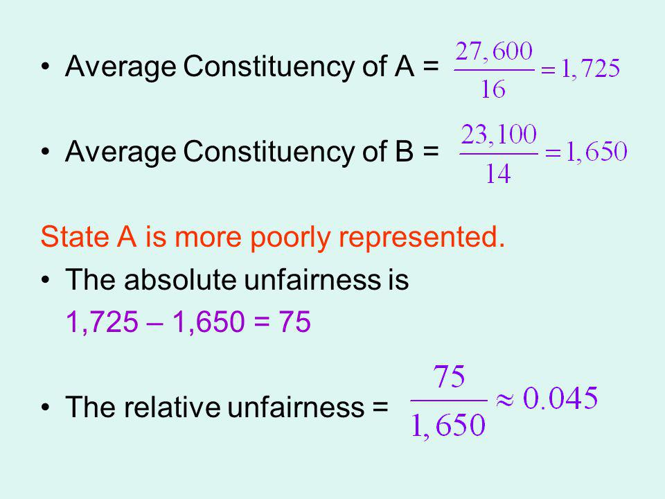 Average Constituency of A =