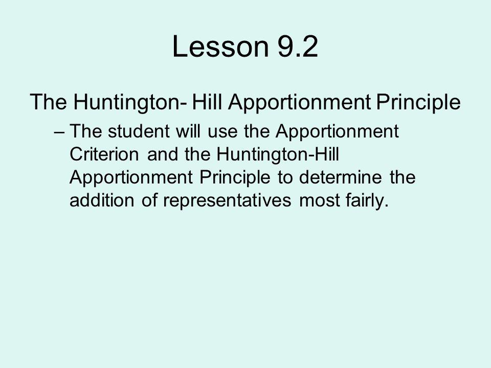 Lesson 9.2 The Huntington- Hill Apportionment Principle