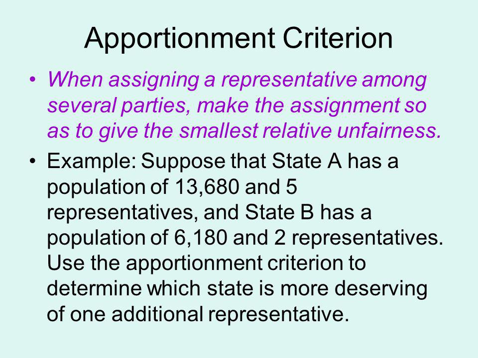 Apportionment Criterion
