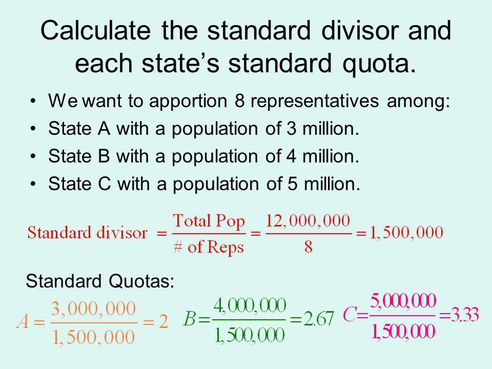 Calculate the standard divisor and each state's standard quota.