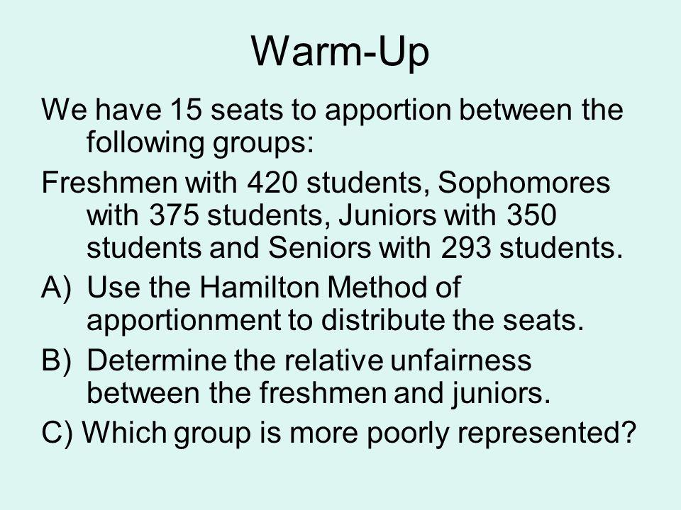 Warm-Up We have 15 seats to apportion between the following groups:
