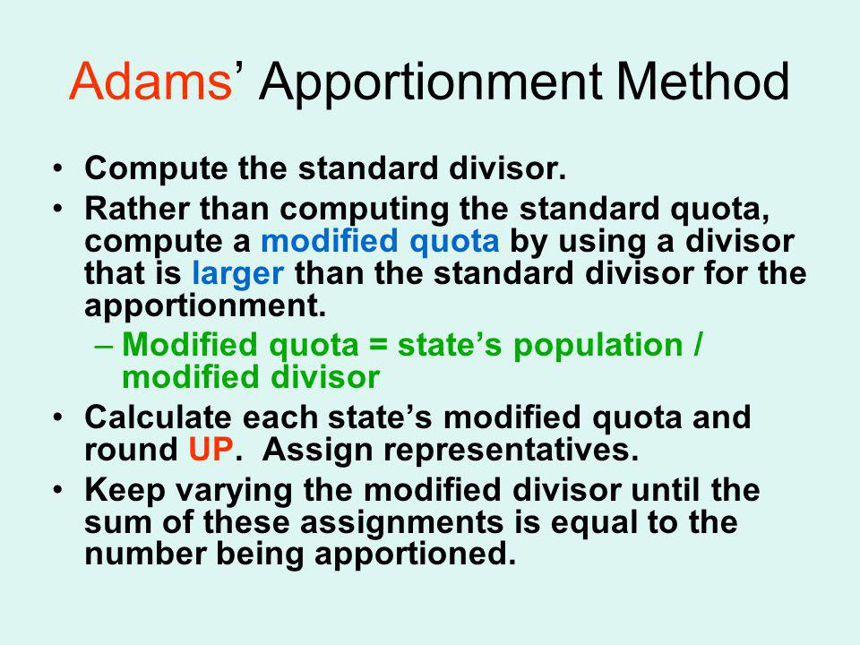 Adams' Apportionment Method