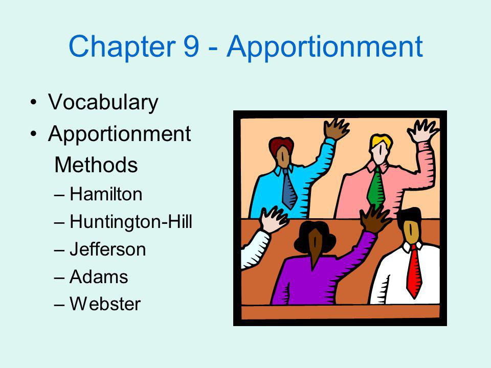 Chapter 9 - Apportionment