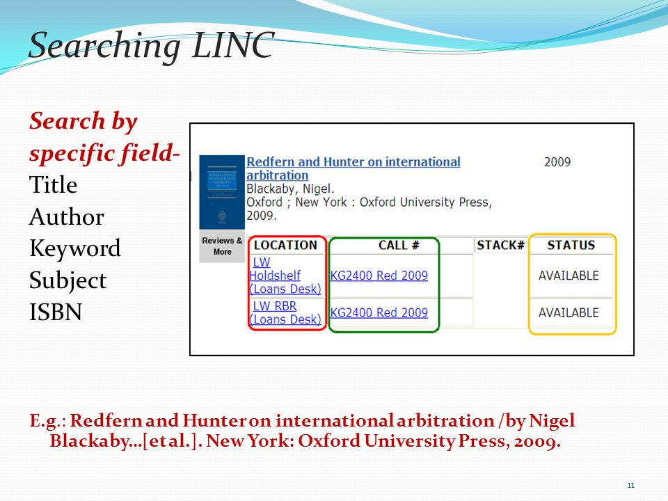 Searching LINC Search by specific field- Title Author Keyword Subject