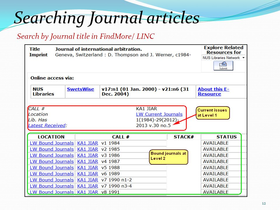 Searching Journal articles