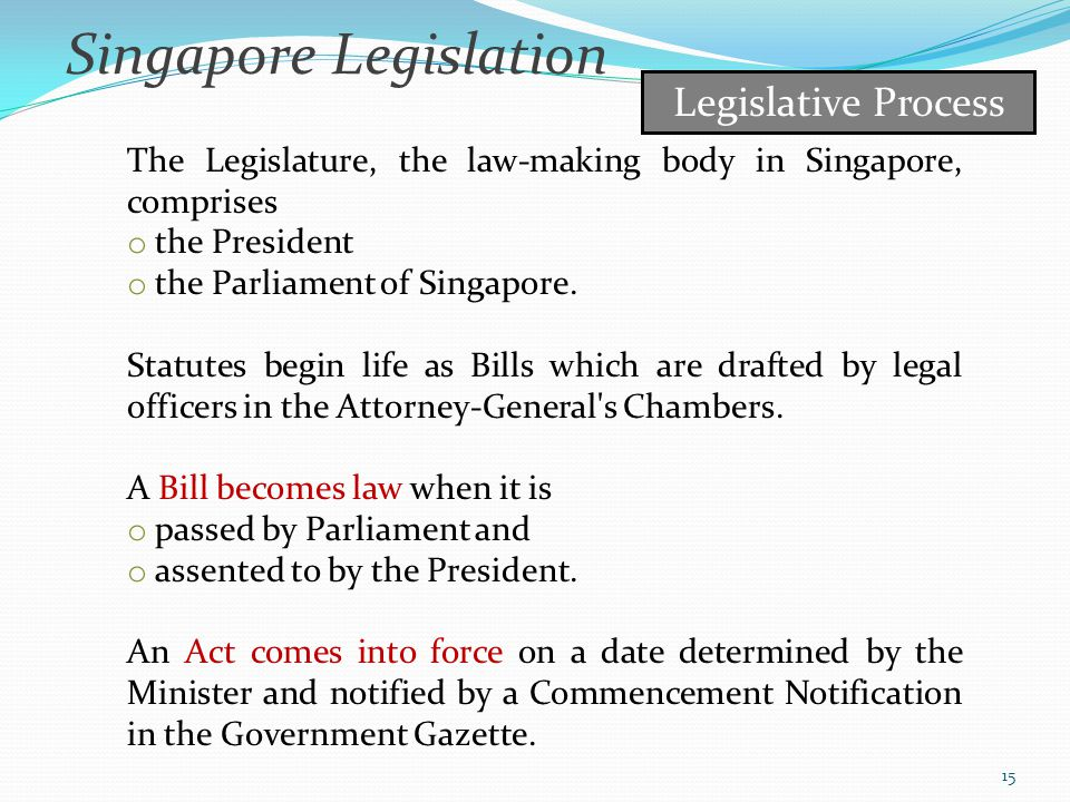 Singapore Legislation