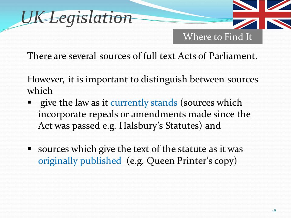 UK Legislation Where to Find It