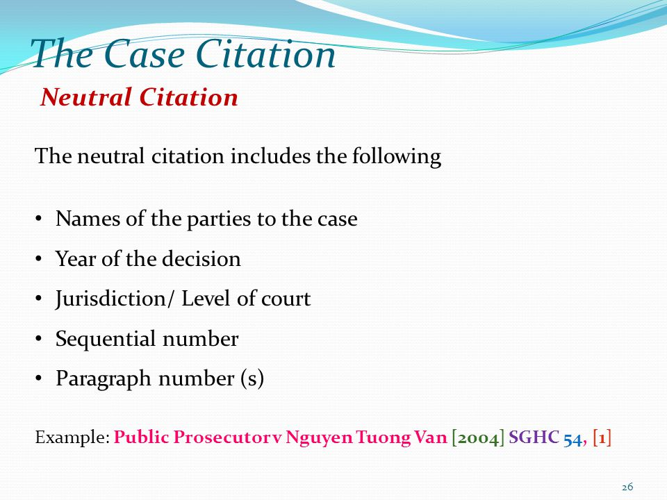 The Case Citation Neutral Citation