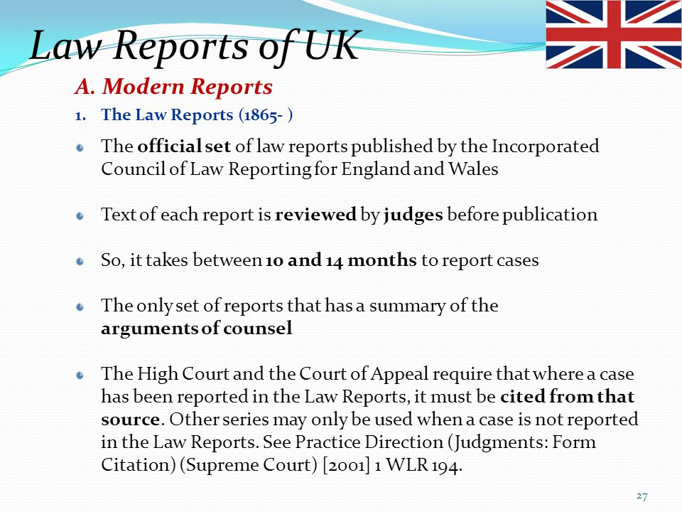 Law Reports of UK A. Modern Reports