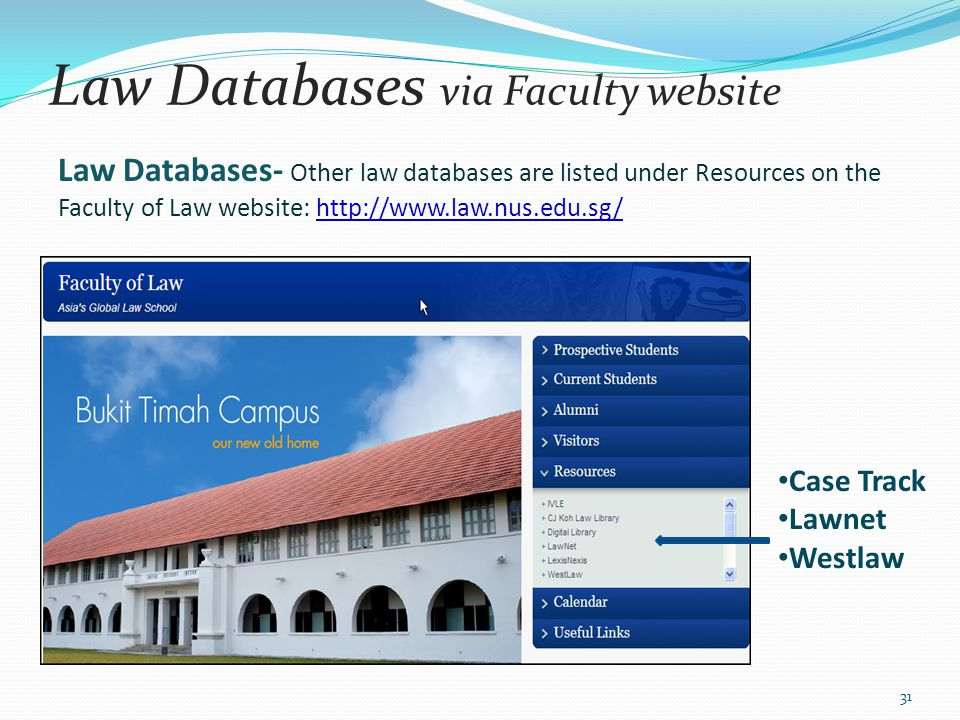 Law Databases via Faculty website