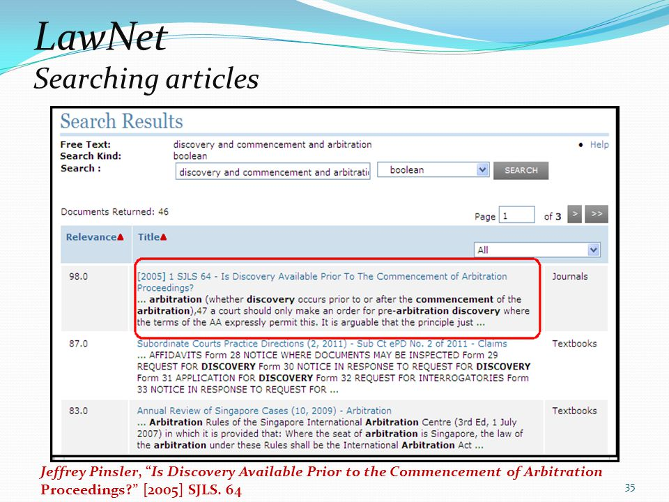 LawNet Searching articles