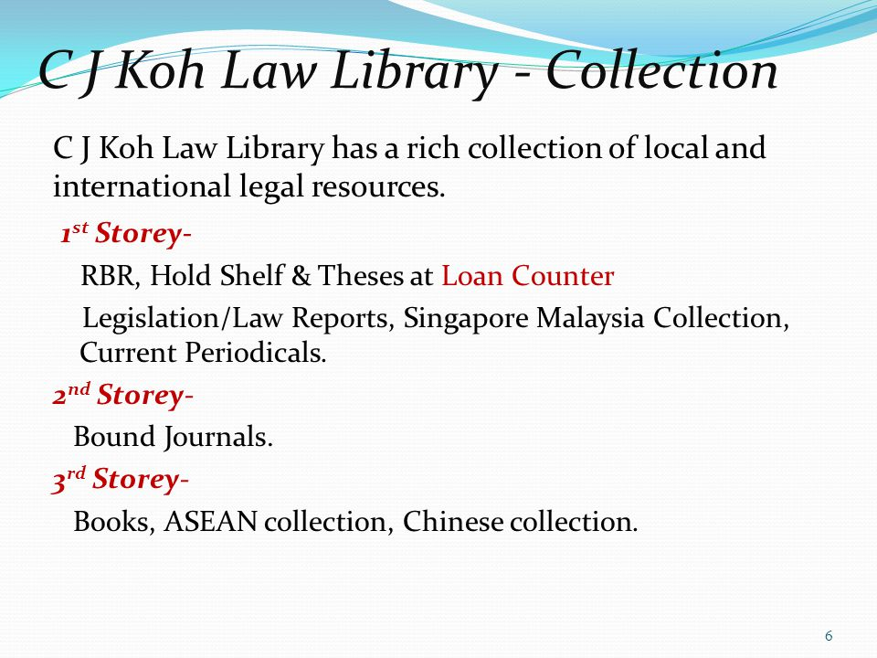 C J Koh Law Library - Collection