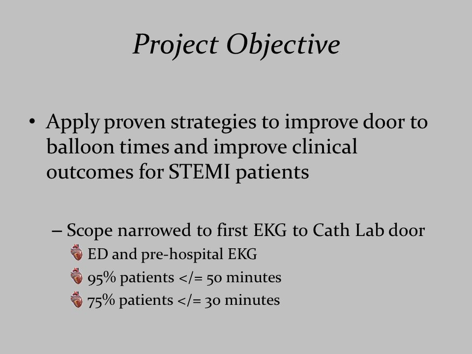 Project Objective Apply proven strategies to improve door to balloon times and improve clinical outcomes for STEMI patients.
